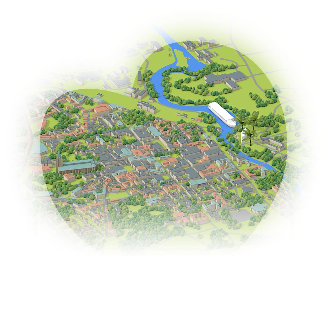3D-karta Linköpings innersta dag